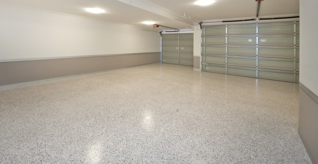tan u0026 white flaked epoxy flooring