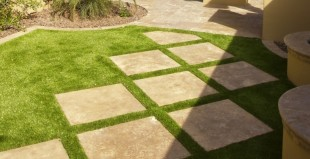 decorative stamped textured concrete patio squares